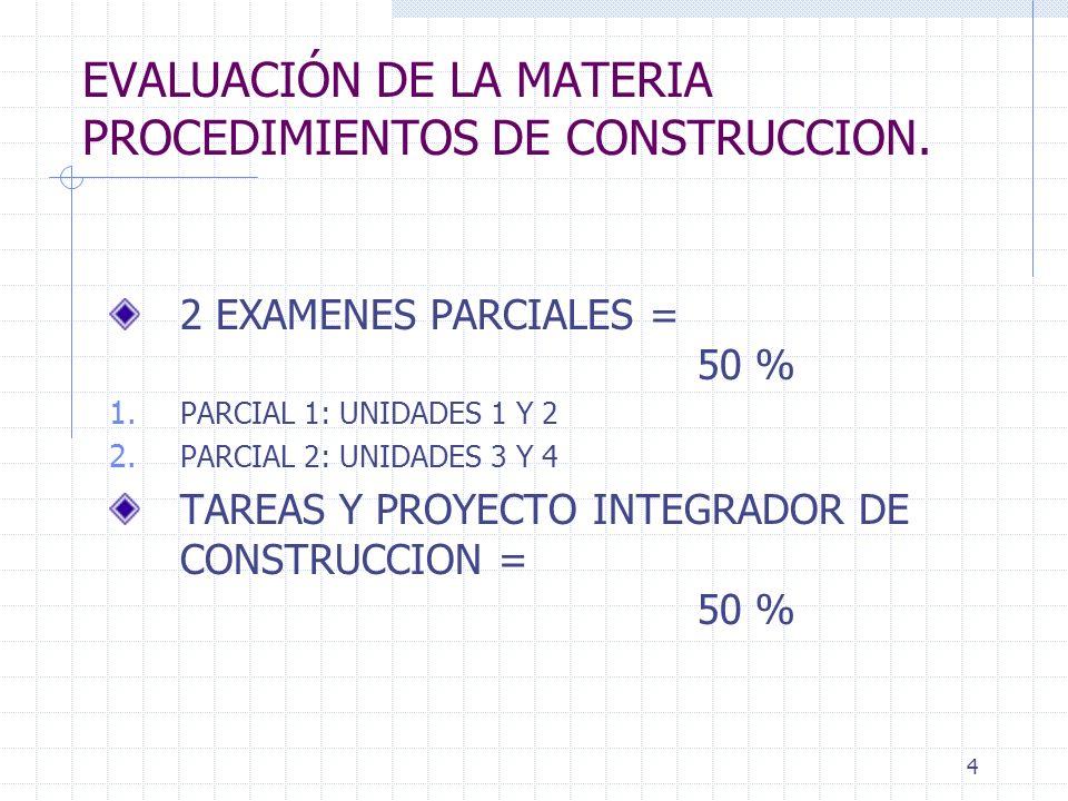 EVALUACIÓN DE LA MATERIA PROCEDIMIENTOS DE CONSTRUCCION.