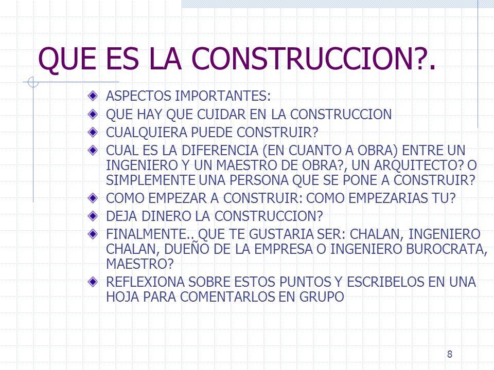 QUE ES LA CONSTRUCCION . ASPECTOS IMPORTANTES: