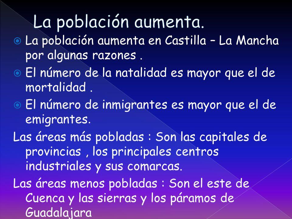 La población aumenta. La población aumenta en Castilla – La Mancha por algunas razones . El número de la natalidad es mayor que el de mortalidad .