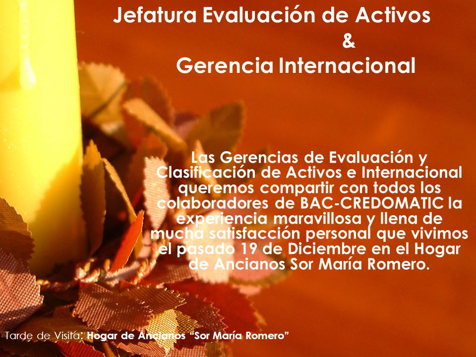 Jefatura Evaluación de Activos & Gerencia Internacional