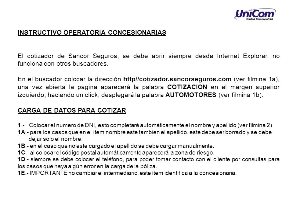 INSTRUCTIVO OPERATORIA CONCESIONARIAS