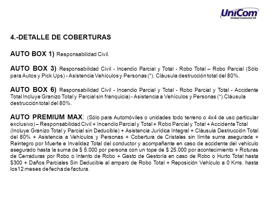 4.-DETALLE DE COBERTURAS AUTO BOX 1) Responsabilidad Civil.