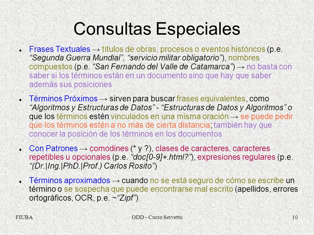 Consultas Especiales