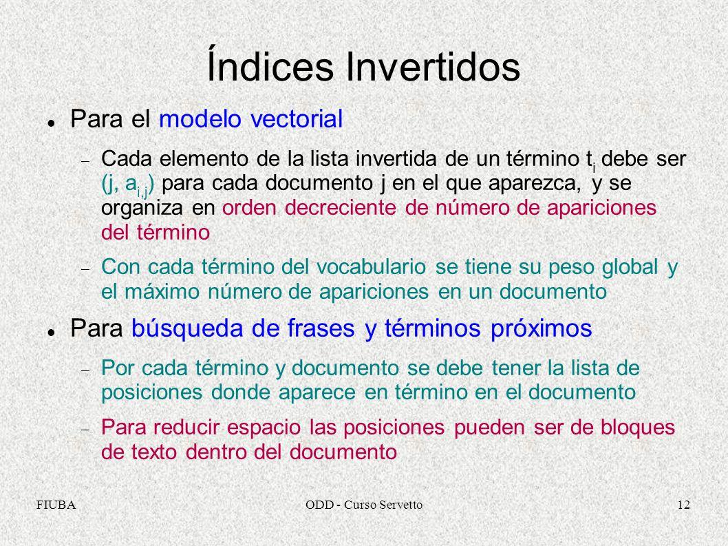 Índices Invertidos Para el modelo vectorial