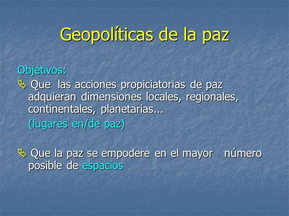 Geopolíticas de la paz Objetivos: