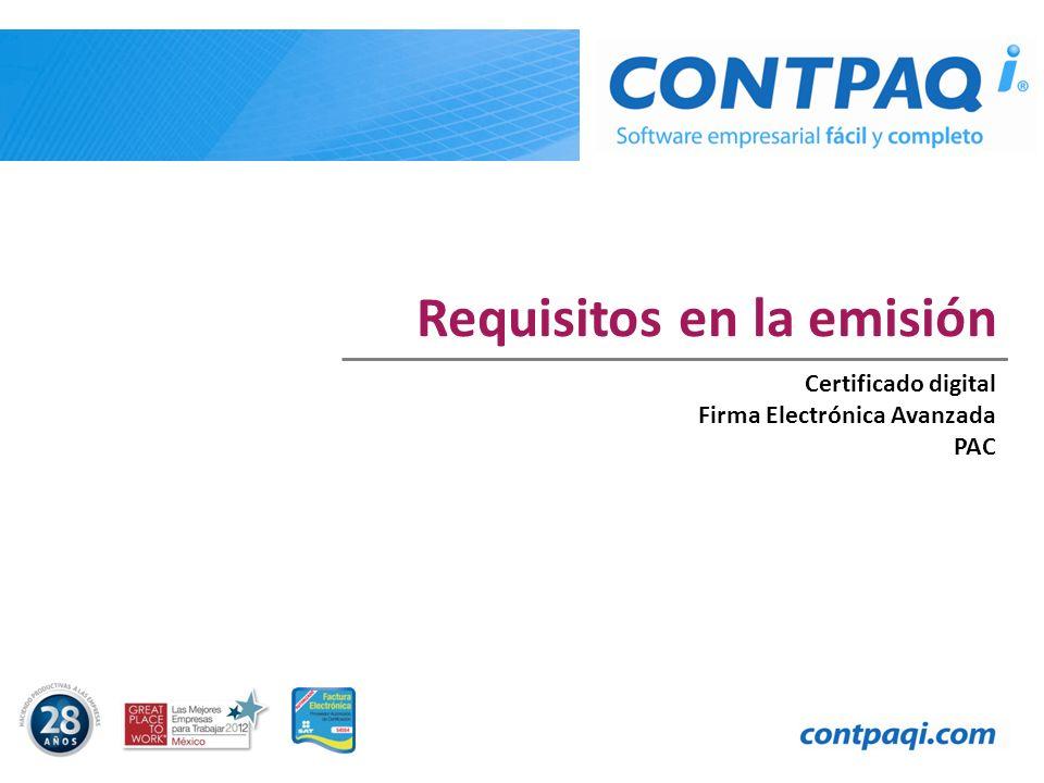 Requisitos en la emisión