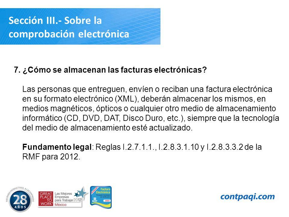 Sección III.- Sobre la comprobación electrónica