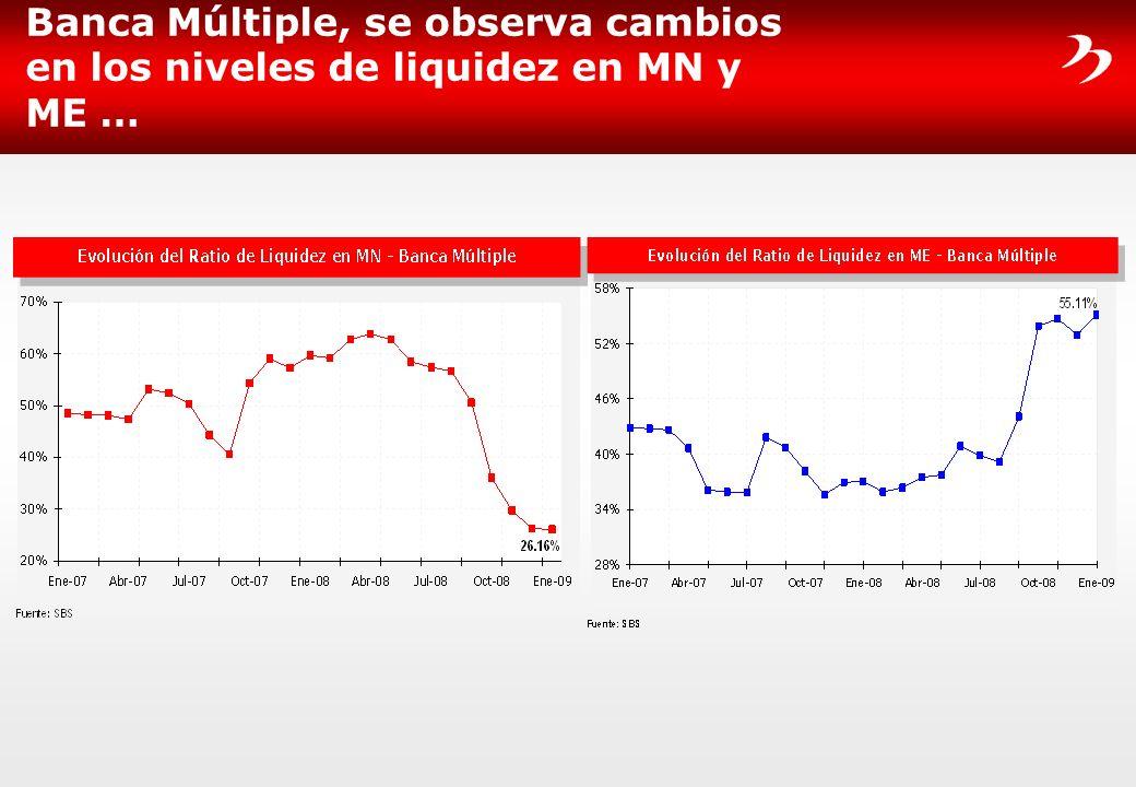Banca Múltiple, se observa cambios en los niveles de liquidez en MN y ME …