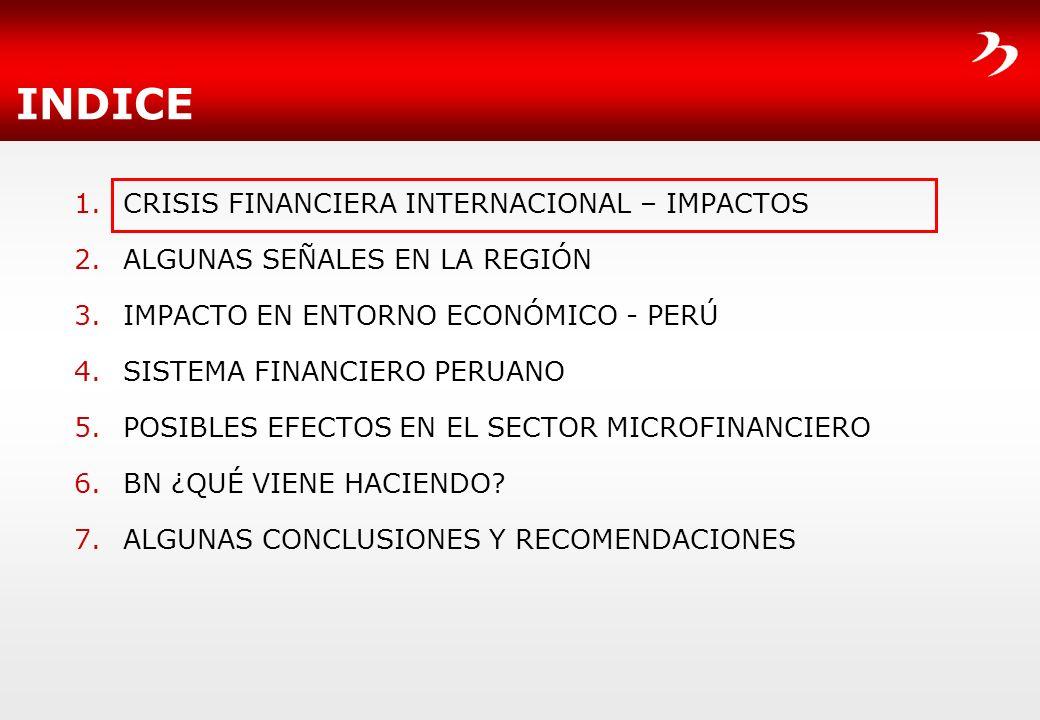 INDICE CRISIS FINANCIERA INTERNACIONAL – IMPACTOS