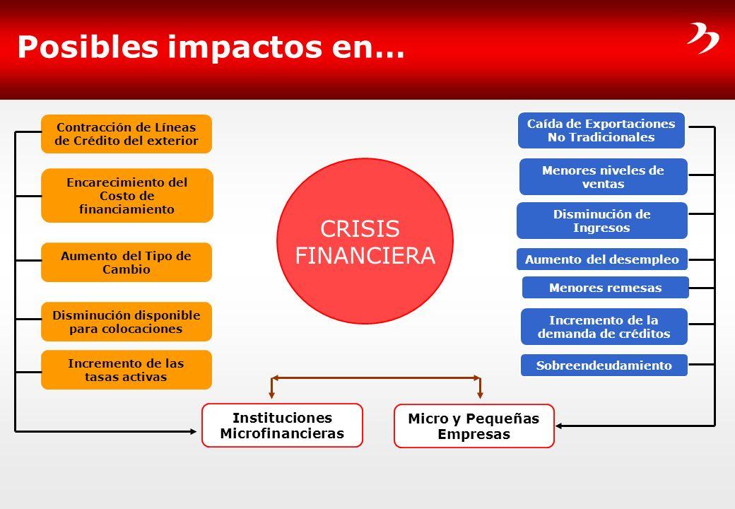 Posibles impactos en… CRISIS FINANCIERA Instituciones Microfinancieras