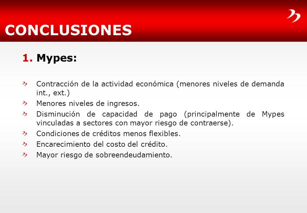 CONCLUSIONES1. Mypes: Contracción de la actividad económica (menores niveles de demanda int., ext.)