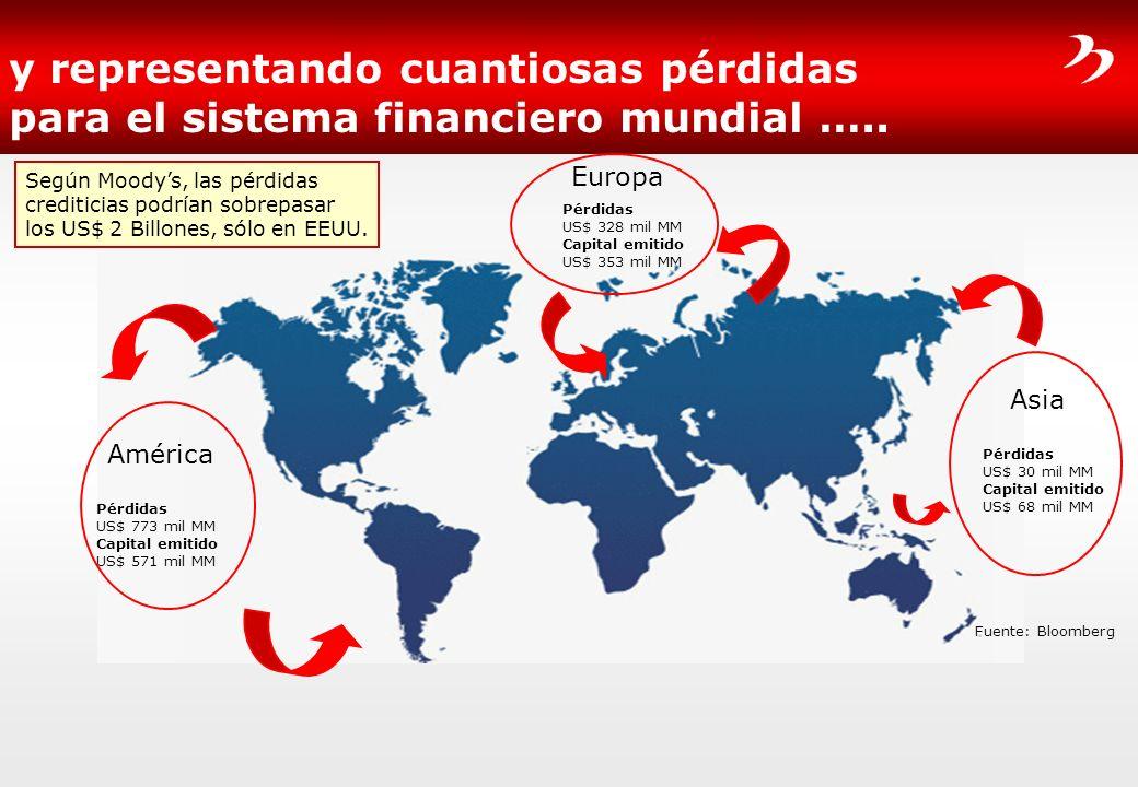 y representando cuantiosas pérdidas para el sistema financiero mundial …..
