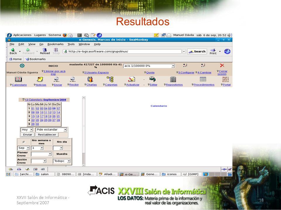 Resultados Interfaz XXVII Salón de Informática - Septiembre 2007