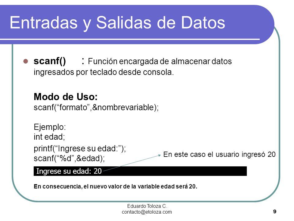 Entradas y Salidas de Datos