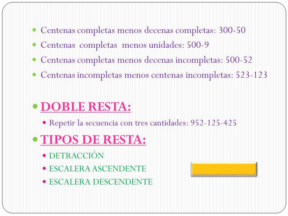 DOBLE RESTA: TIPOS DE RESTA: