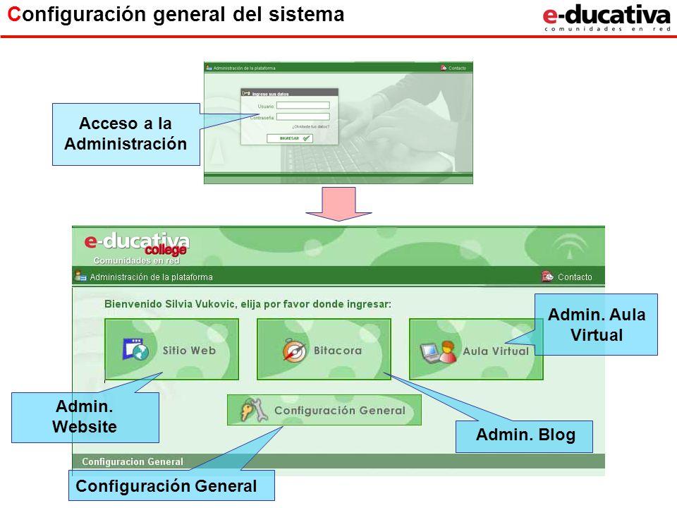 Configuración general del sistema