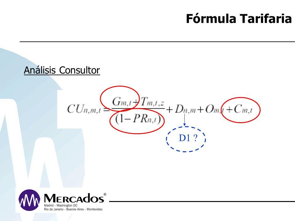Fórmula Tarifaria Análisis Consultor D1