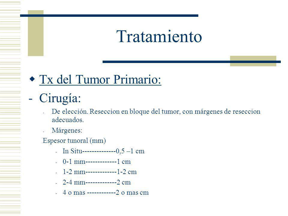 Tratamiento Tx del Tumor Primario: Cirugía: