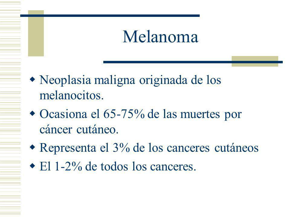 Melanoma Neoplasia maligna originada de los melanocitos.
