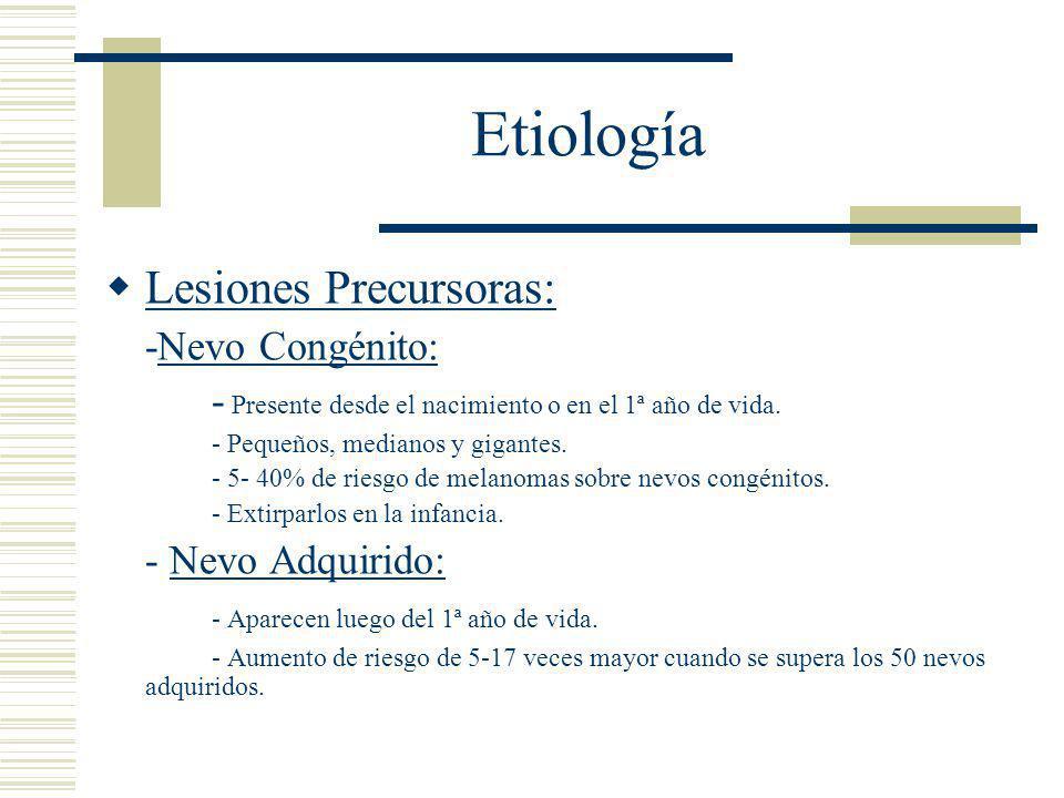 Etiología Lesiones Precursoras: -Nevo Congénito: