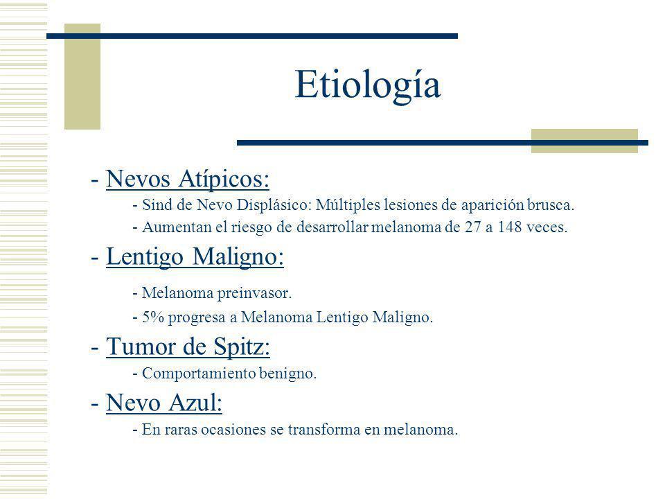 Etiología - Nevos Atípicos: - Melanoma preinvasor.