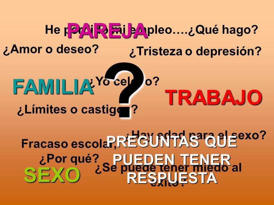 PAREJA FAMILIA TRABAJO SEXO PREGUNTAS QUE PUEDEN TENER RESPUESTA