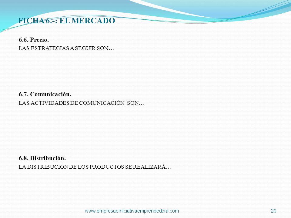FICHA 6.-: EL MERCADO 6.6. Precio. 6.7. Comunicación.