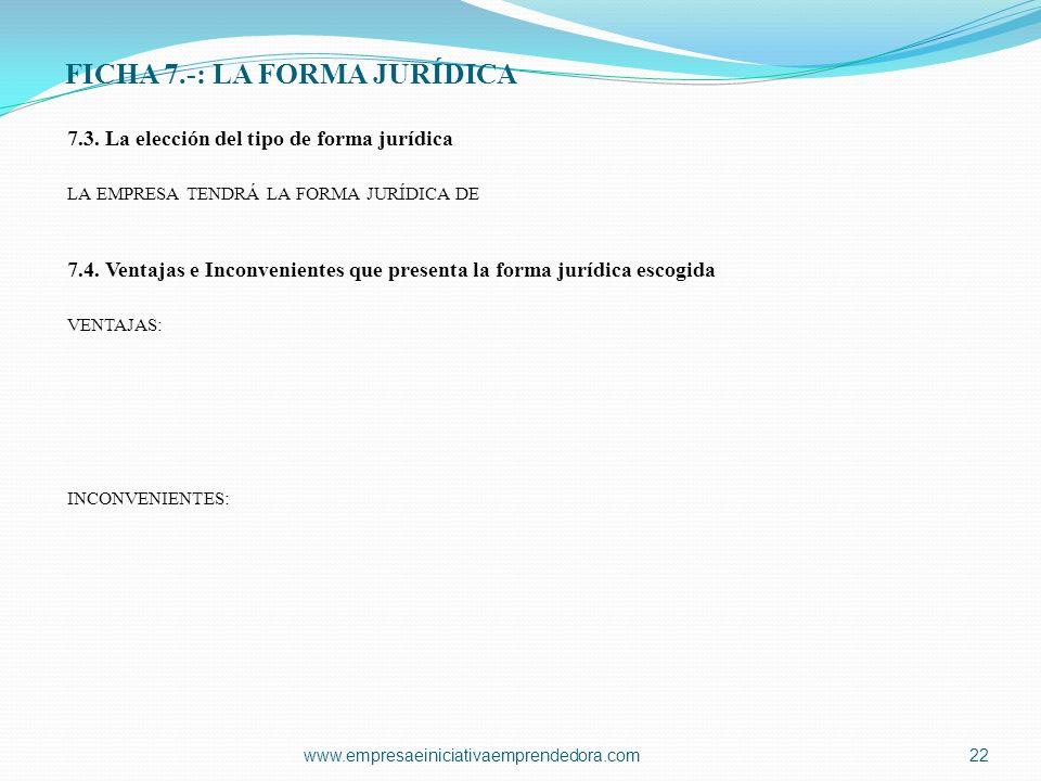 FICHA 7.-: LA FORMA JURÍDICA