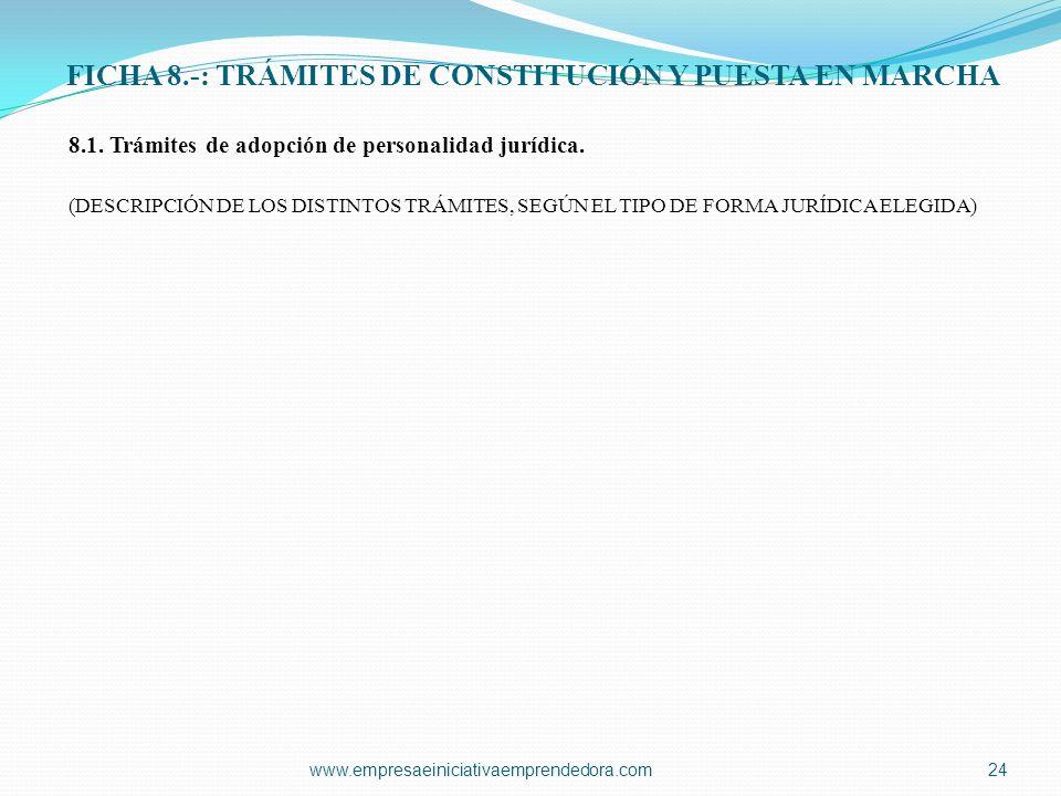 FICHA 8.-: TRÁMITES DE CONSTITUCIÓN Y PUESTA EN MARCHA