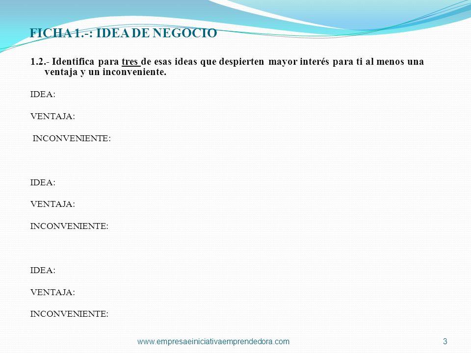 FICHA 1.-: IDEA DE NEGOCIO