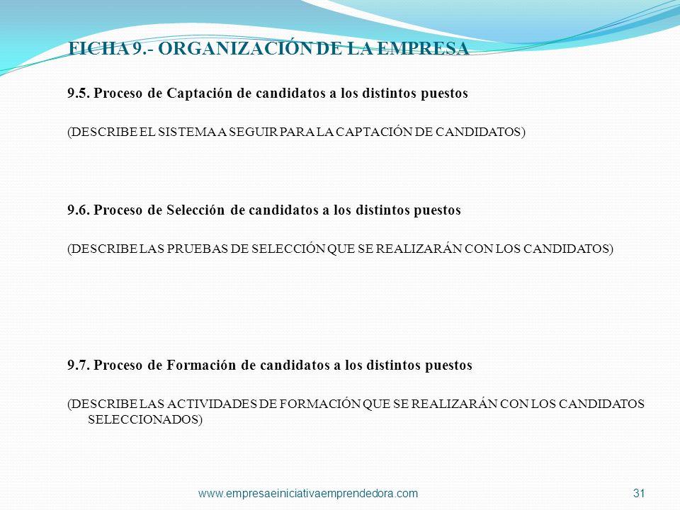 FICHA 9.- ORGANIZACIÓN DE LA EMPRESA