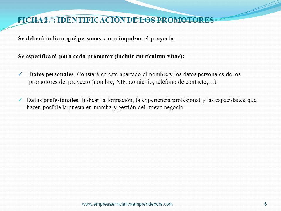 FICHA 2.-: IDENTIFICACIÓN DE LOS PROMOTORES