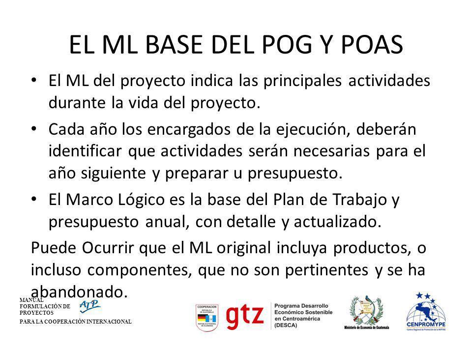 EL ML BASE DEL POG Y POAS El ML del proyecto indica las principales actividades durante la vida del proyecto.