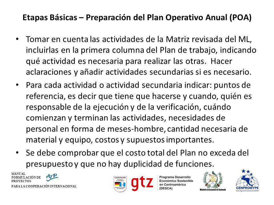 Etapas Básicas – Preparación del Plan Operativo Anual (POA)