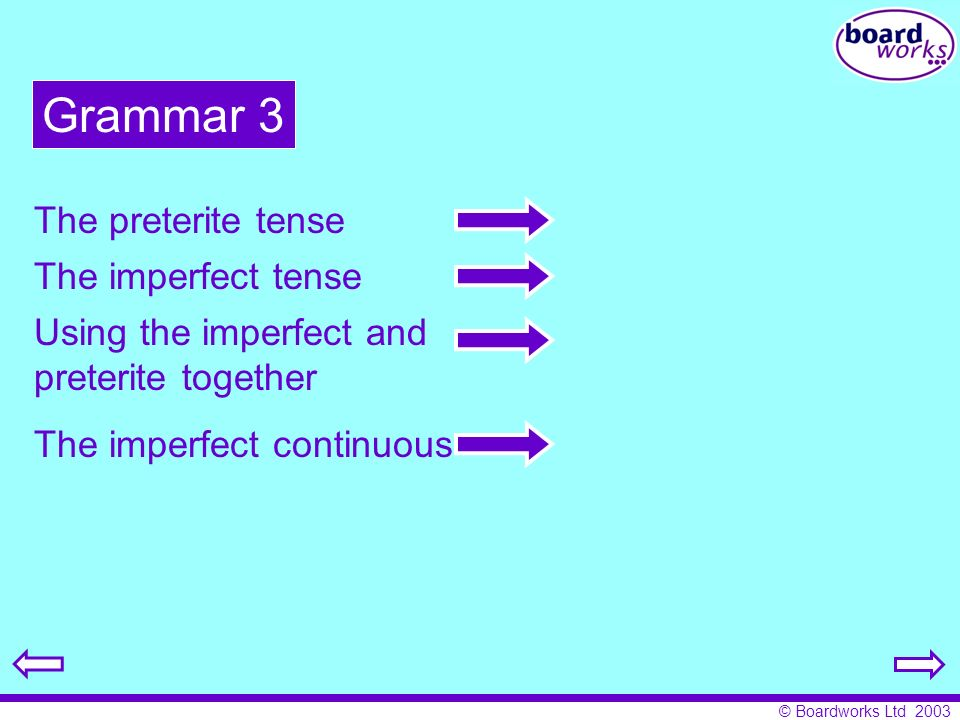 Grammar 3 The preterite tense The imperfect tense