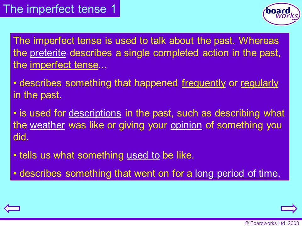 The imperfect tense 1