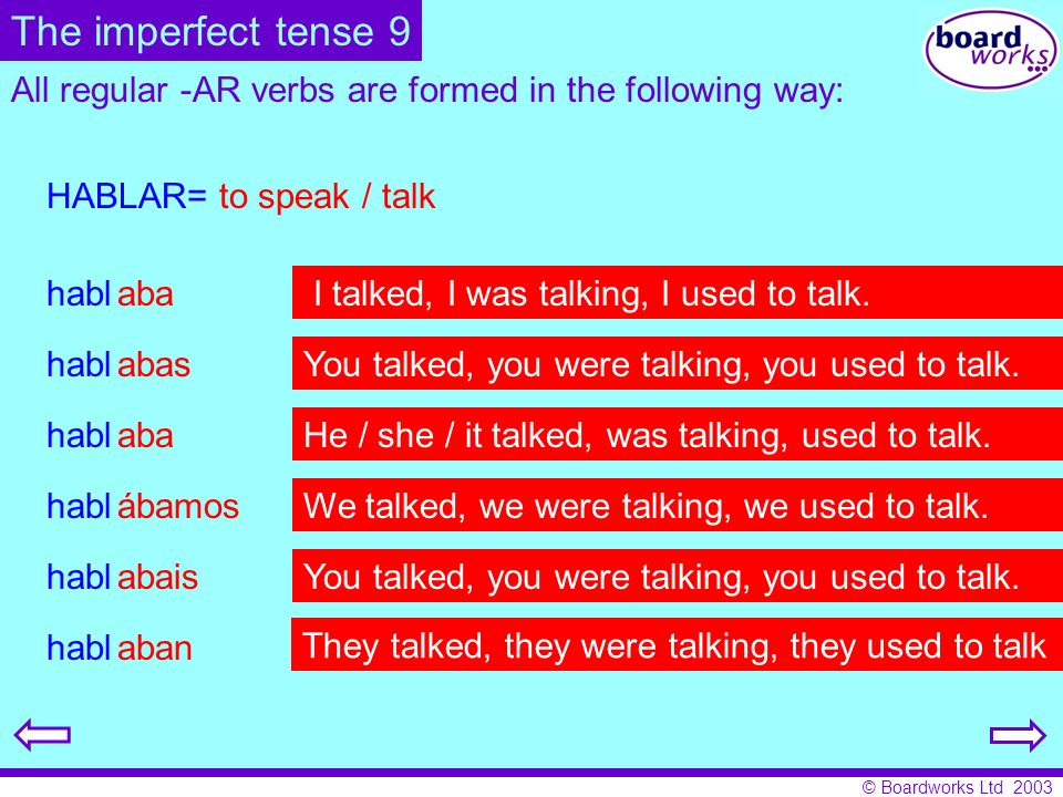 The imperfect tense 9 All regular -AR verbs are formed in the following way: HABLAR= to speak / talk.