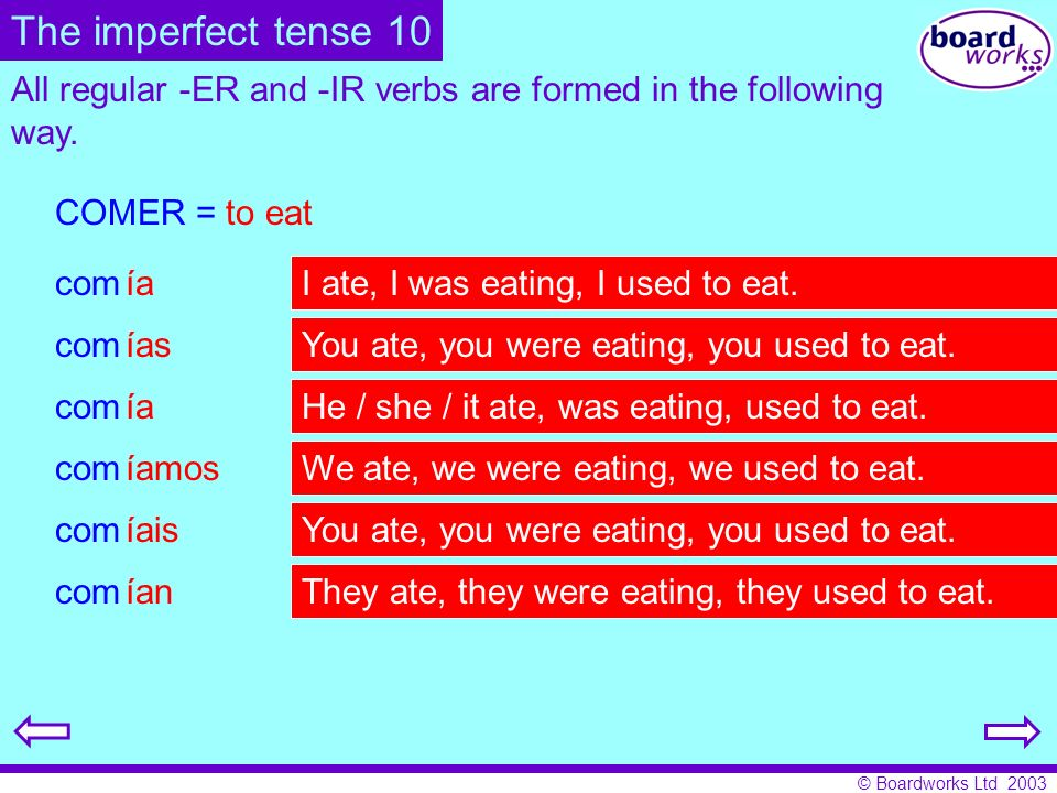 The imperfect tense 10All regular -ER and -IR verbs are formed in the following way. COMER = to eat.