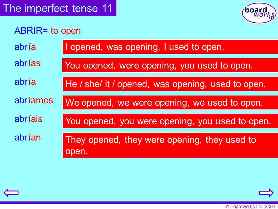 The imperfect tense 11 abr ABRIR= to open ía