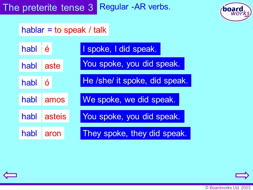 The preterite tense 3 Regular -AR verbs. hablar = to speak / talk habl