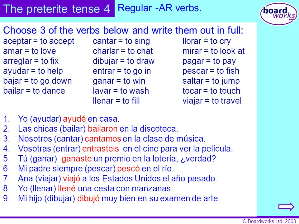 The preterite tense 4 Regular -AR verbs.