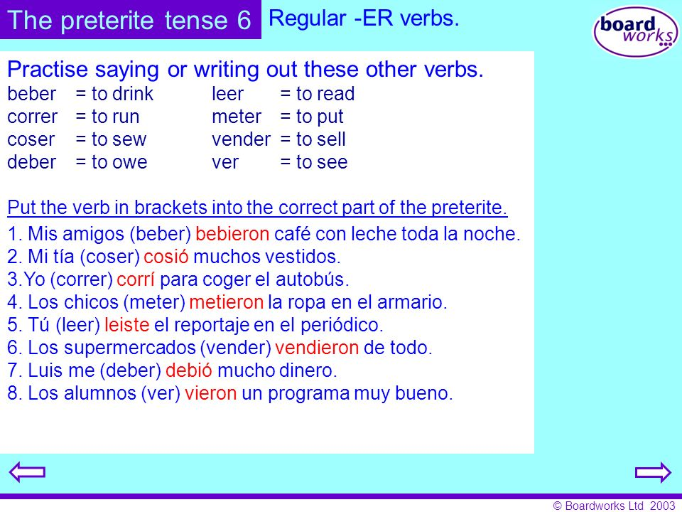 The preterite tense 6 Regular -ER verbs.