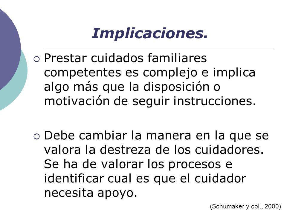 Implicaciones. Prestar cuidados familiares competentes es complejo e implica algo más que la disposición o motivación de seguir instrucciones.