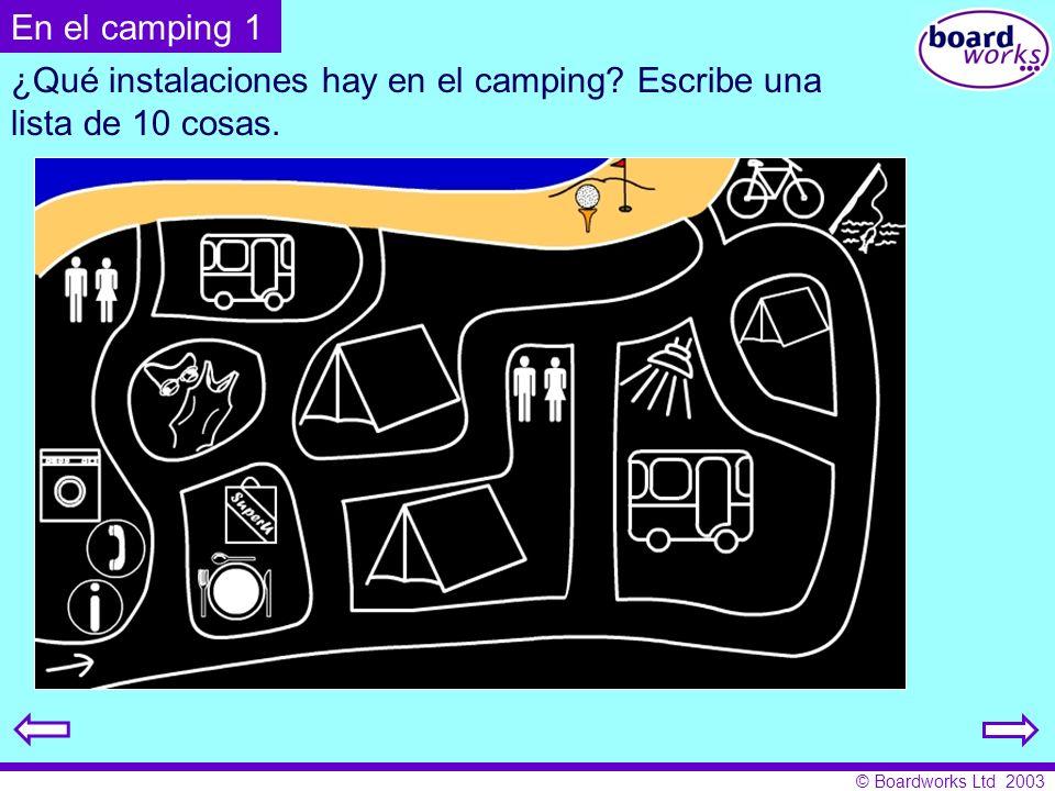¿Qué instalaciones hay en el camping Escribe una lista de 10 cosas.
