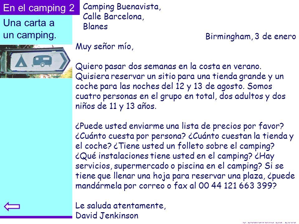 En el camping 2 Una carta a un camping. Camping Buenavista,