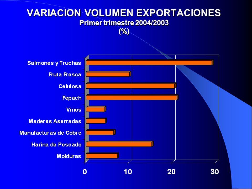 VARIACION VOLUMEN EXPORTACIONES Primer trimestre 2004/2003 (%)