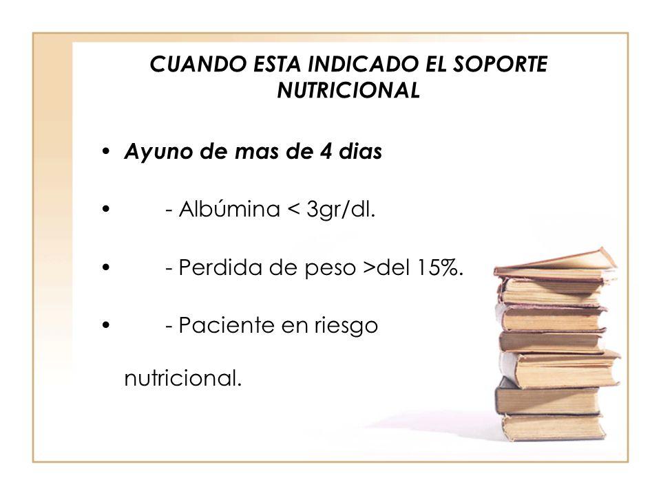 CUANDO ESTA INDICADO EL SOPORTE NUTRICIONAL
