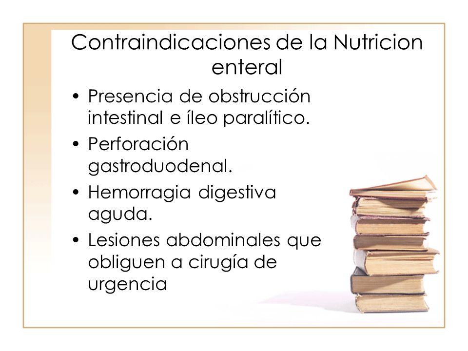 Contraindicaciones de la Nutricion enteral