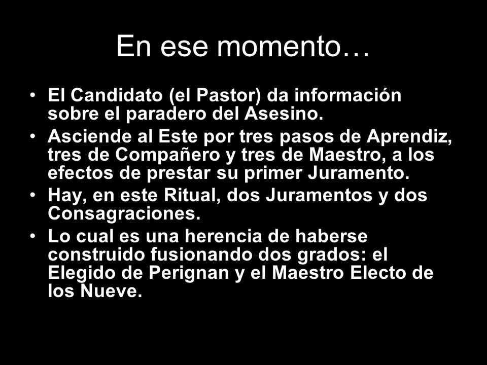 En ese momento… El Candidato (el Pastor) da información sobre el paradero del Asesino.