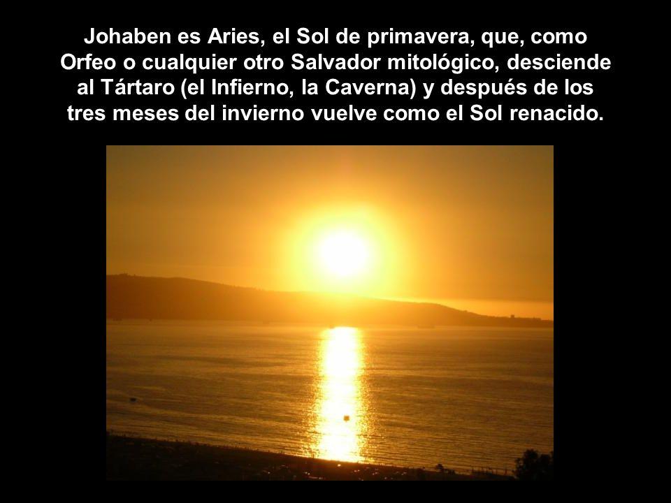 Johaben es Aries, el Sol de primavera, que, como Orfeo o cualquier otro Salvador mitológico, desciende al Tártaro (el Infierno, la Caverna) y después de los tres meses del invierno vuelve como el Sol renacido.